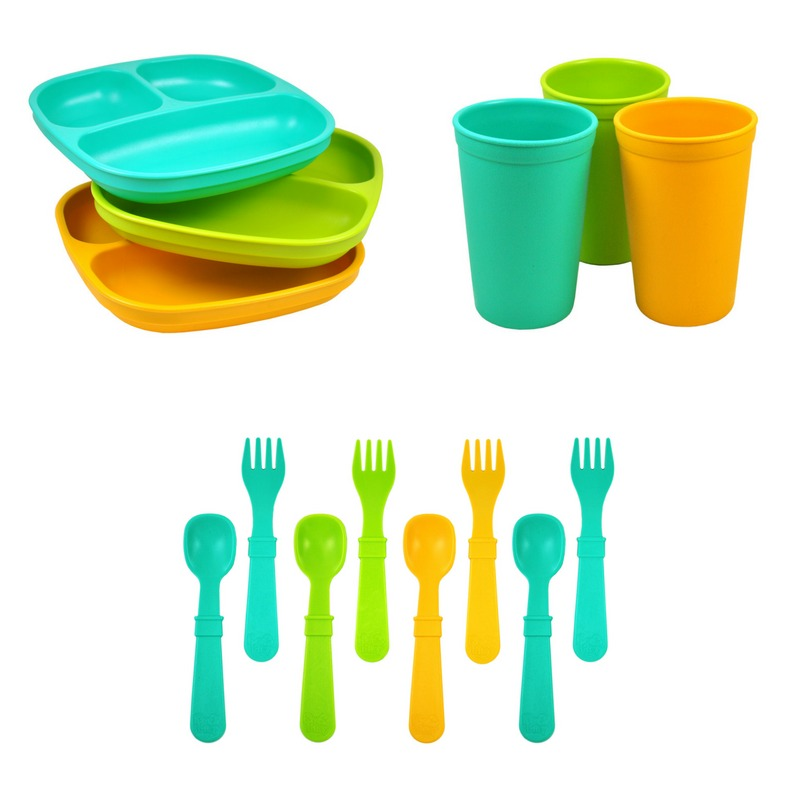 Replay Divided Plate Tumbler Cup and Utensils Packaged Set - Aqua, Green, Sunny Yellow-Dinnerware-BabyDonkie