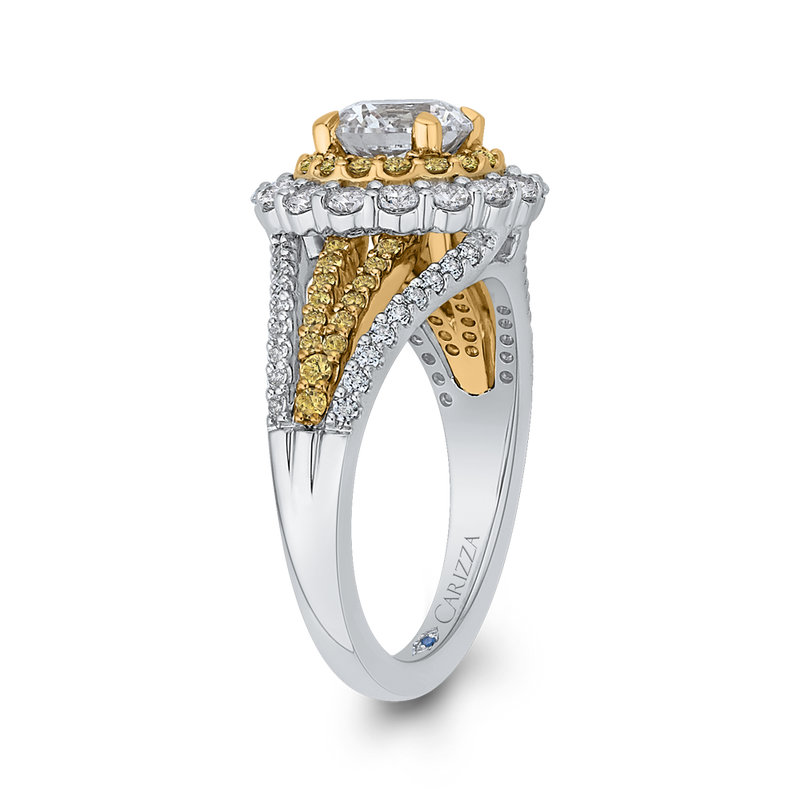 14K Two Tone Gold Round Diamond Double Halo Engagement Ring with Split Shank (Semi Mount)