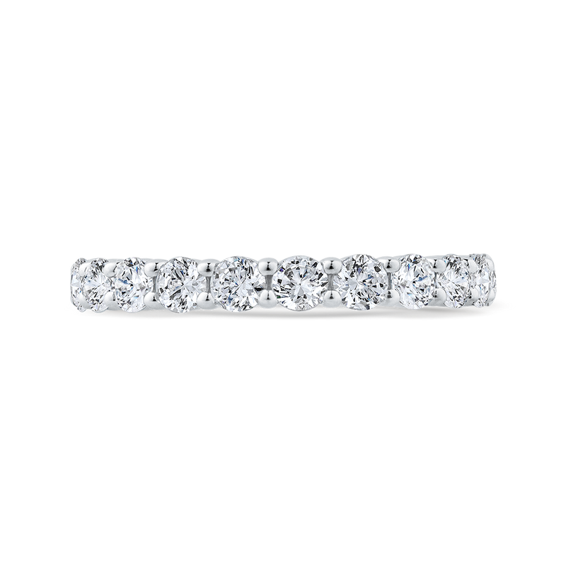 14K White Gold Euro Shank Diamond Wedding Band
