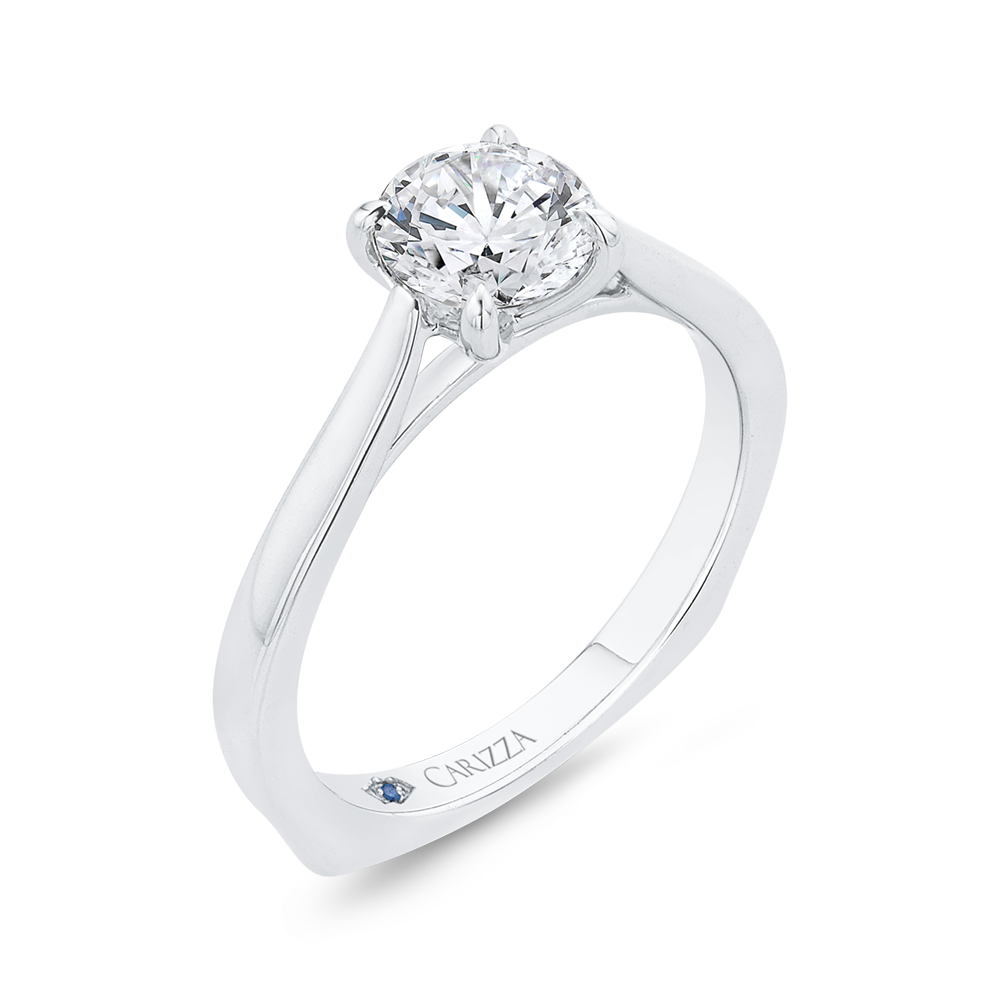 14K White Gold Solitaire Engagement Ring with Euro Shank (Semi-Mount)