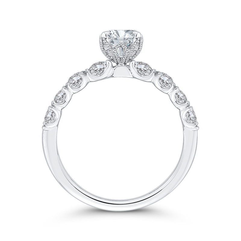 14K White Gold Oval Diamond Engagement Ring (Semi Mount)