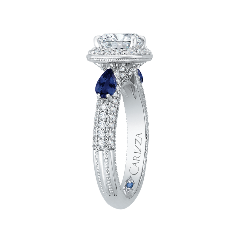 14K White Gold Cushion Cut Diamond Halo Engagement Ring with Sapphire (Semi Mount)