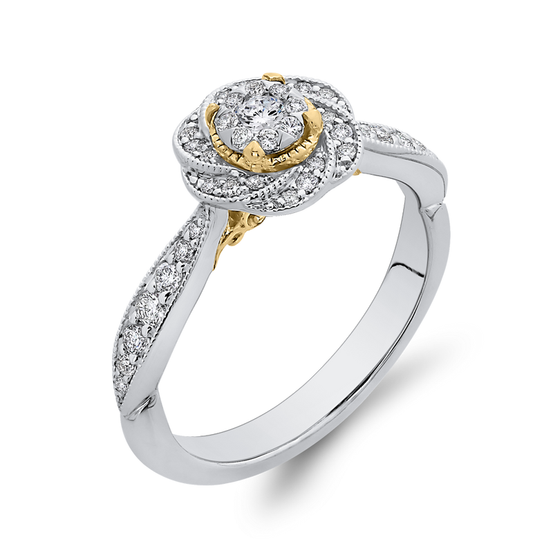 1/3 ct Round Diamond 10K Two Tone Gold Swirl Fashion Ring