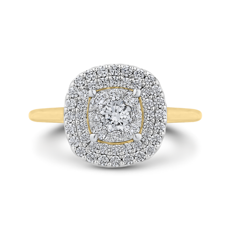 LURU0110-42YW-1.00 Bridal Jewelry Luminous by Carizza White Gold  Rose Gold  Yellow Gold Round Diamond  Engagement Rings