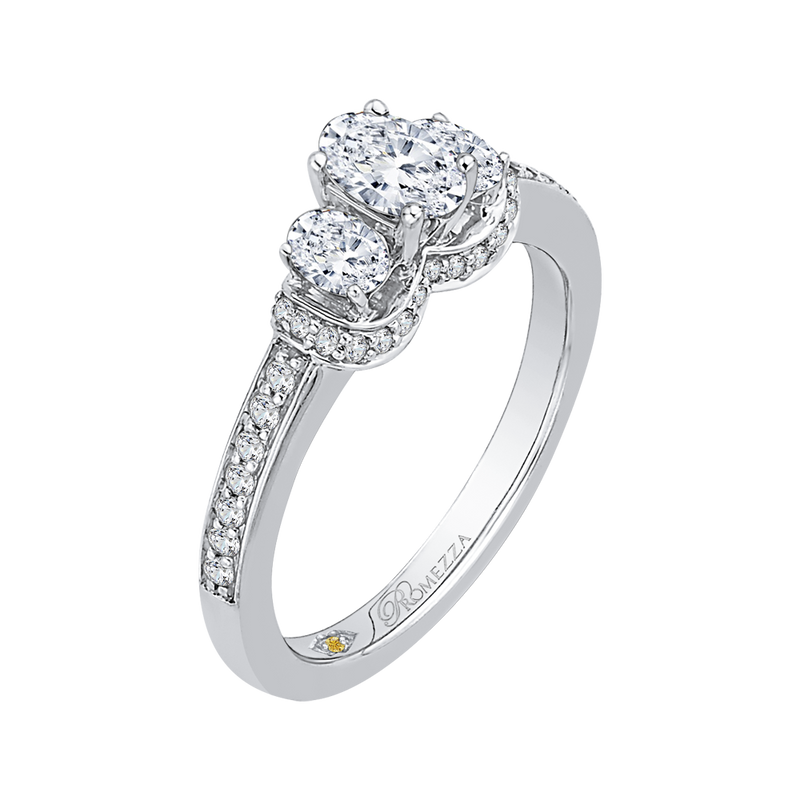 14K White Gold Oval Diamond Three Stone Engagement Ring