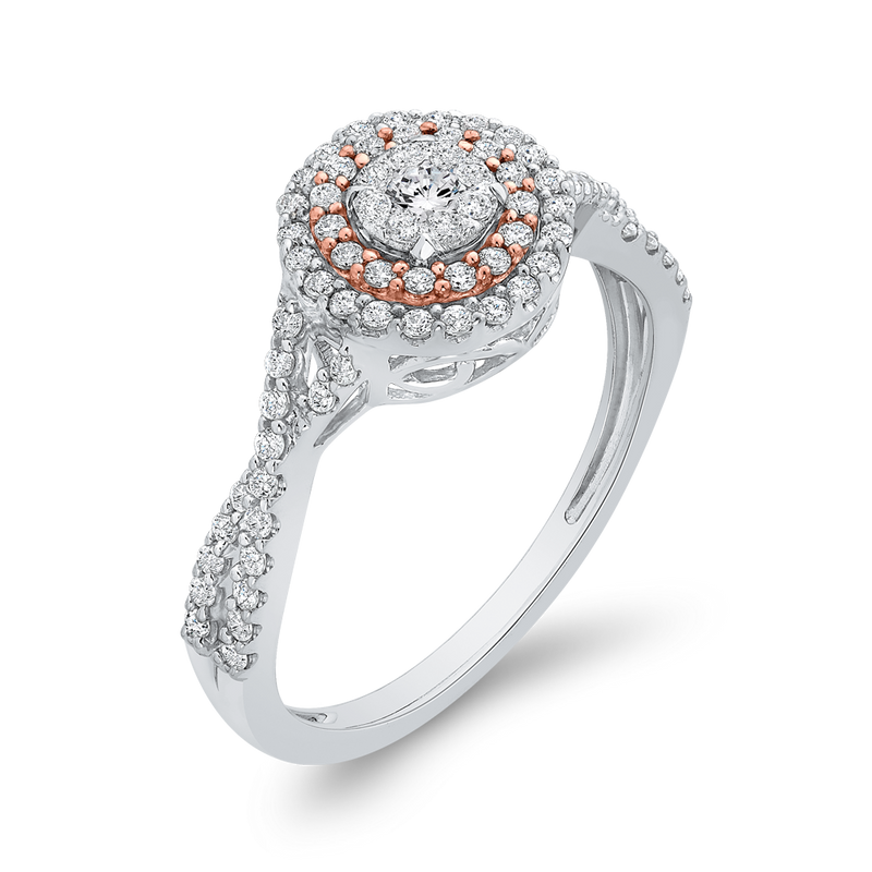 10K White & Rose Gold 1/2 Ct Diamond Fashion Ring