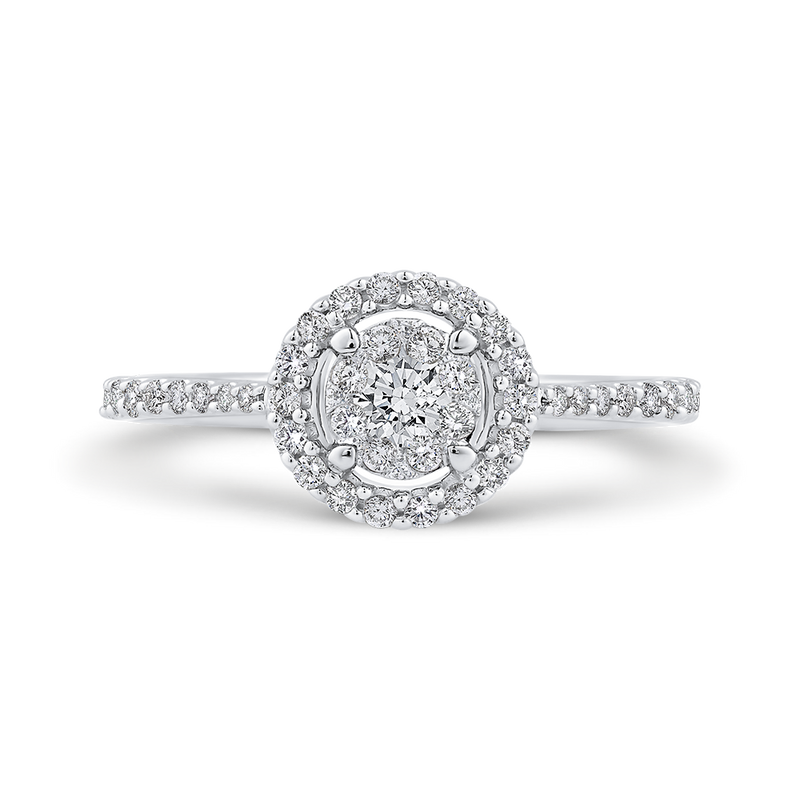 10K White Gold 1/2 ct Round White Diamond Fashion Ring