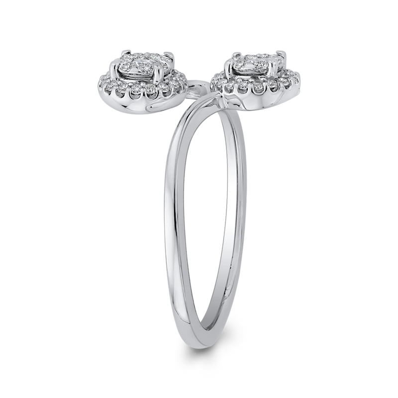 10K White Gold 1/3 ct Round Diamond Bypass Fashion Ring