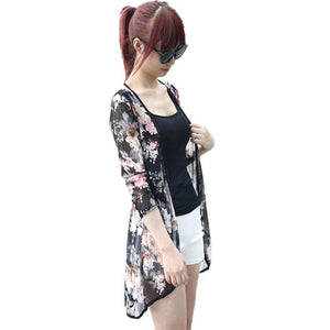 Fashion Women Boho Peony Print Chiffon Loose Shawl Gauze Kimono Cardigan Casual Lady Shirt Cover Up Summer Beach Blouses Augu3-noashe