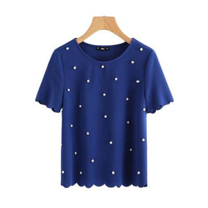 Sheinside Scallop Trim Pearl Embellished Women Blouse 2017 Royal Blue Shirt Short Sleeve Cute Tops Elegant Ladies Blouse-noashe