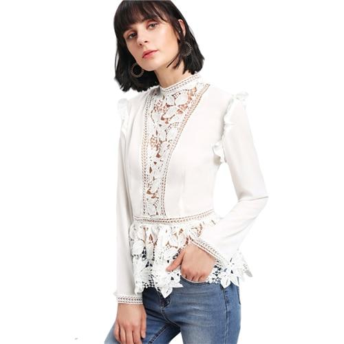 Sheinside 2017 Stand Collar Long Sleeve Tiered Layer Slim Fit Blouse White Frilled Shoulder Lace Insert Peplum Elegant Blouse-noashe