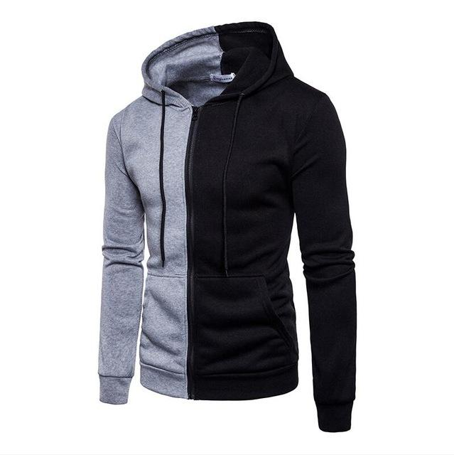 YFFUSHI Men Zipper Sweatshirts Color Block Patchwork Hoodies Sweatshirts Men 2018 Brand Fashion Streetwears Spring Men Clothing-noashe