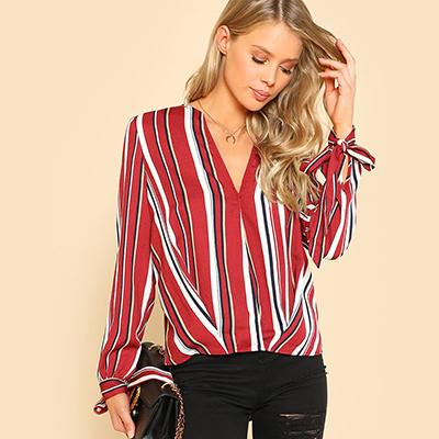 SHEIN Knot Cuff Asymmetrical Hem Top Multicolor Women Long Sleeve Blouses 2018 Spring Fall V Neck Striped Tops and Blouses-noashe