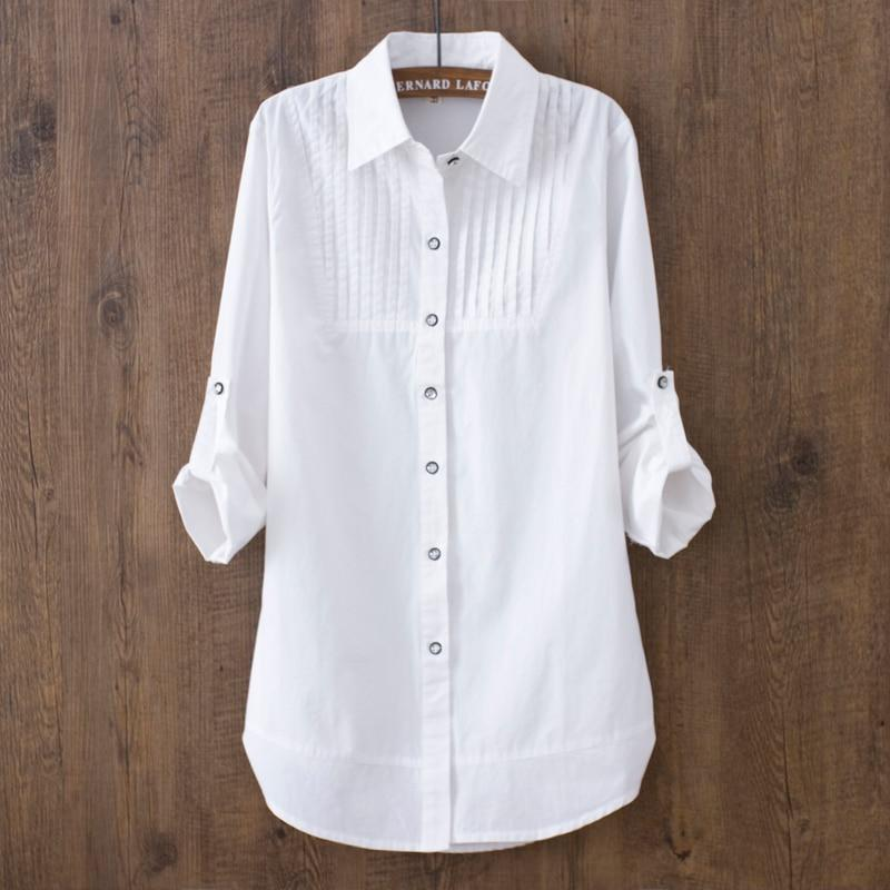 100% cotton 2018 Spring Summer Women White blouse long-sleeved slim cotton casual work white shirts office lady button tops 0.22-noashe