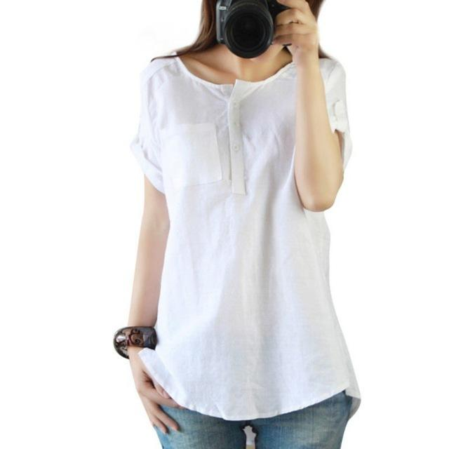 New Summer Casual Women Shirts Woman Clothes Short Sleeve Loose Cotton Linen Women Tops Female Blouse-noashe