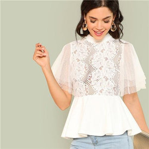 SHEIN 2018 Elegant White Women Sheer Blouse Stand Collar Short Sleeve Weekend Work Casual Mock Neck Smock Solid Lace Summer Tops-noashe