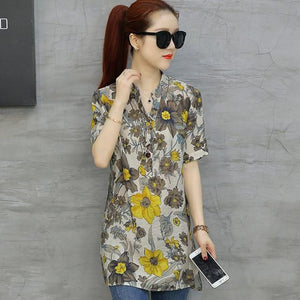 4XL Plus Size Long Blouse Women Vintage Flower Printed Blouses 2018 Elegant Lady Short Sleeve Shirt Loose Casual Big Size Top-noashe