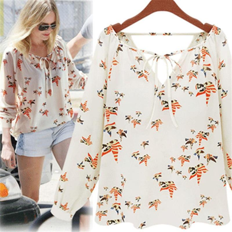 #5505 Women Summer Casual Flying Pigeon Pattern V-Neckline Long Sleeve Tether Blouse Chiffon Floral Shirt-noashe