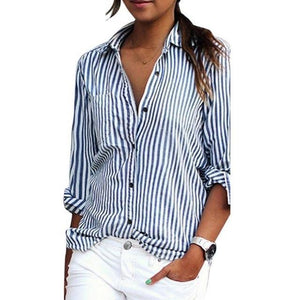 LASPERAL 2018 New Autumn Women Striped Long Sleeve Shirt Turn-Down Collar Loose Blusas Femme Casual Tops Sexy Tee Plus Size 3XL-noashe