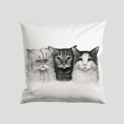 Cushion cover with 3 cats - by Charlotte Nicolin