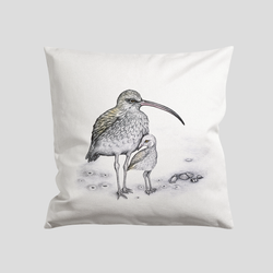 Curlew bird on a cushion cover - by Charlotte Nicolin