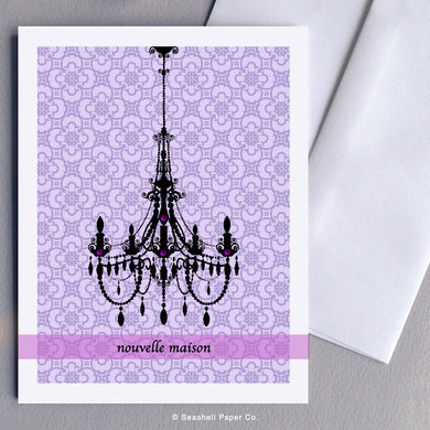 French Cards, New Home, Nouvelle Maison, New Home Card, Nouvelle carte d'accueil, Chandelier, Lustre, Chandelier Card, Carte de lustre, French Greeting Card, Carte de Vœux Française, Seashell Paper Co., Made in Canada, Fabriqué au Canada, Stationary, Stationnaire