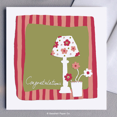 Greeting Card, New Home, New Home Car, Lamp, New Home Lamp Card, New Home Lamp Greeting Card, Congratulations, New Home Congratulations Card, New Home Congratulations Greeting Card, New Home Congratulations Lamp Card, New Home Congratulations Lamp Greeting Card, Seashell Paper Co., Stationary, Made in Canada, Sale
