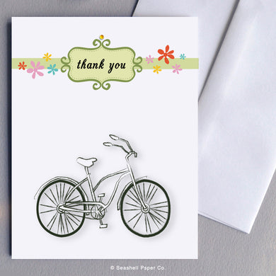 Greeting Cards, Bicycle, Bicycle Card, Bicycle Greeting Card, Thank You, Thank You Greeting Card, Bicycle Thank You Greeting Card, Vintage Bicycle, Vintage Bicycle Greeting Card, Vintage Bicycle Thank You Greeting Card, Bicycle Thank You Card Greeting Card, Seashell Paper Co., Made in Canada, Sale