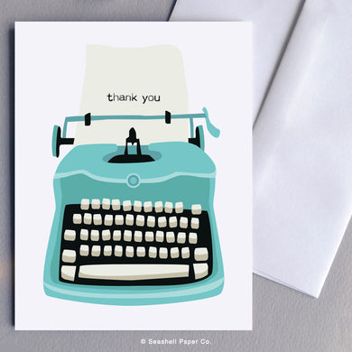 Greeting Cards, Typewriter, Thank You Cards, Thank You Greeting Cards, Flowers, Flowers Card, Flowers Greeting Card, Flowers in Pot, Flowers in Pot Card, Flowers in Pot Greeting Card, Seashell Paper Co., Stationary, Made in Canada