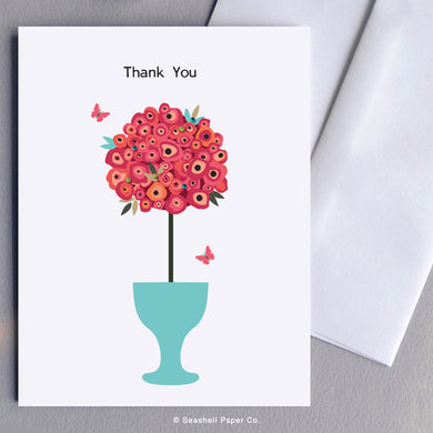 Greeting Cards, Thank You Cards, Thank You Greeting Cards, Flowers, Flowers Card, Flowers Greeting Card, Flowers in Pot, Flowers in Pot Card, Flowers in Pot Greeting Card, Seashell Paper Co., Stationary, Made in Canada