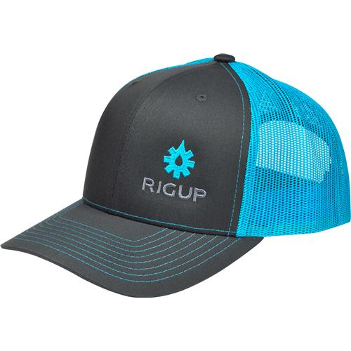 RigUp Trucker Hat Charcoal w/ Neon Blue