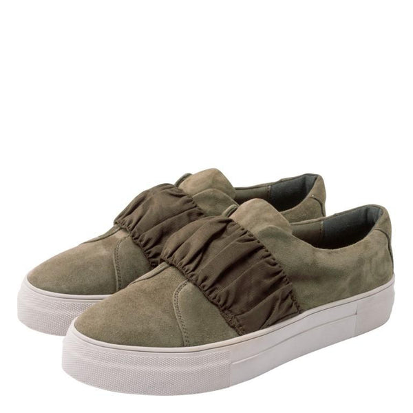 Yaya Khaki Slip On Sneakers