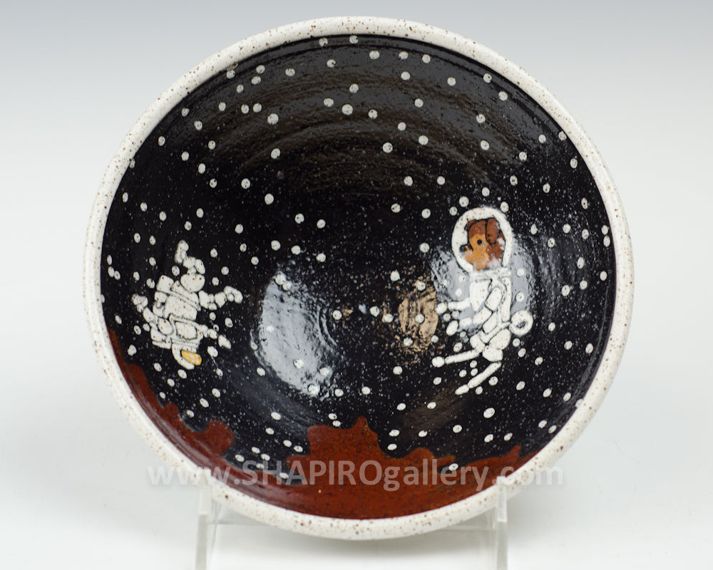 Dog and Astronaut Small Bowl Maroon