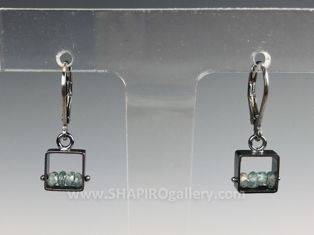Small Square Leverbacks with Blue Zircon