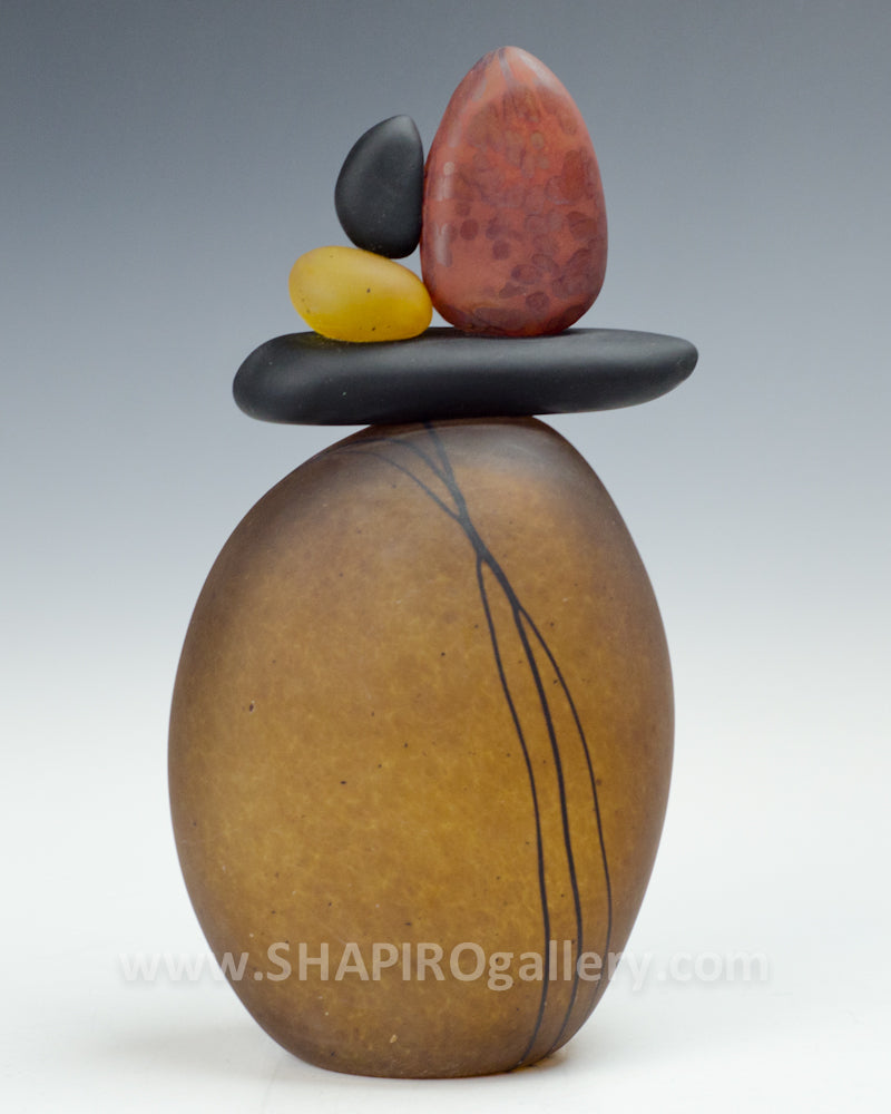 Tan Blown Glass Cairn