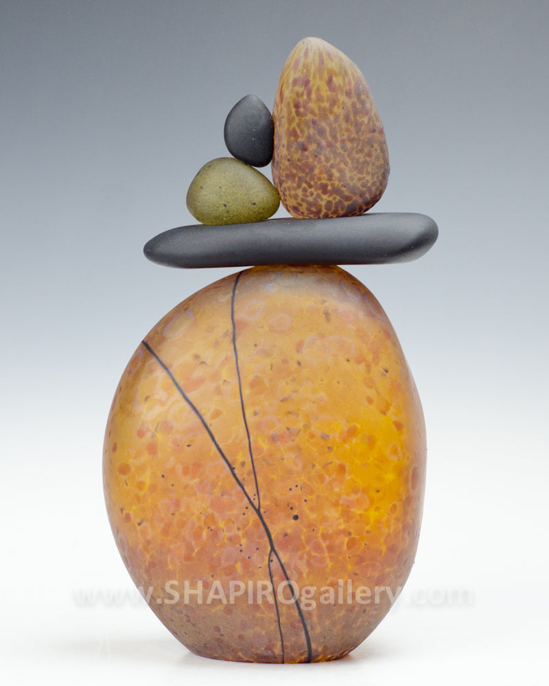 Amber Blown Glass Cairn