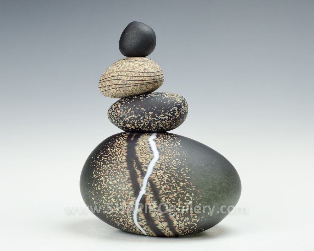 Charcoal Blown Glass Cairn
