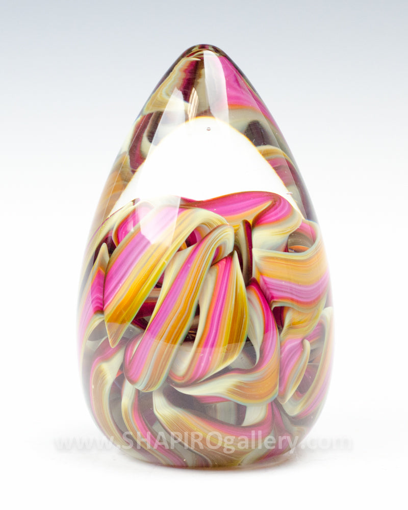 Warm Cone Blown Glass Paperweight