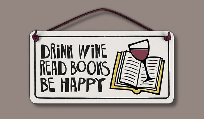 Drink Wine, Read Books Wall Tile