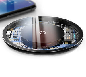 Glass Wireless Charging Pad With Fast Charge (For Samsung, iPhone, And Android)