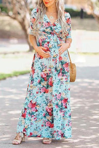 Maternity Floral Print V-Neck Long Sleeve Maxi Dress