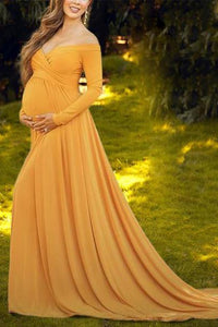 Maternity Off Shoulder Long Sleeve Floor-Length Dress