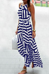 Spaghetti Strap Striped Maxi Dresses