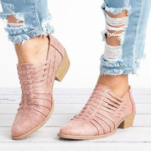 Plain  Chunky  Mid Heeled  Point Toe  Outdoor Ankle Boots