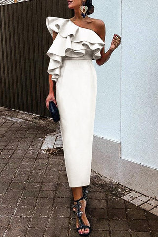 White Chic Ruffles One-Shouldered Bodycon Dress