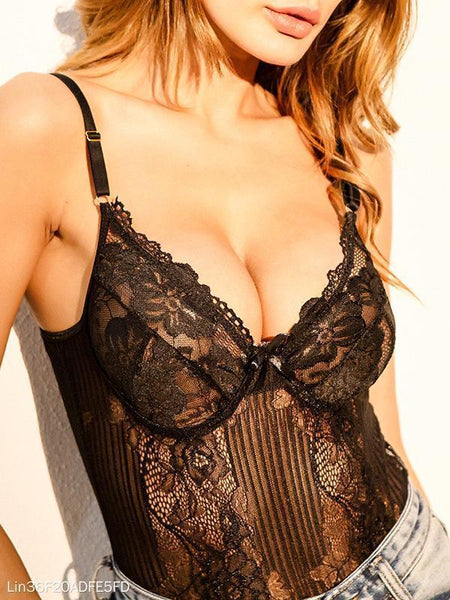 Lace Mesh Yarn Stitching Gathers Ladies Conjoined Lingerie