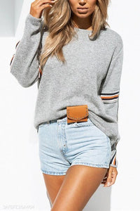 Rainbow Strip Stitching Round Neck Casual Sweater