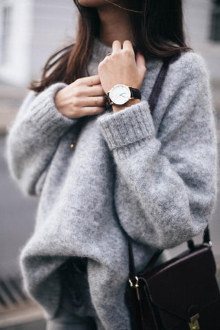 Round Neck  Plain  Basic Sweaters