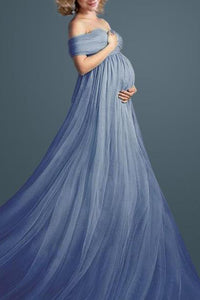 Maternity Blue Off Shoulder Short Sleeve Full Length Dress