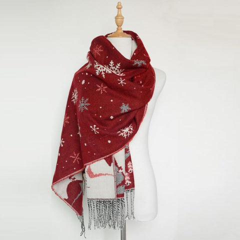 Christmas Gift Warm Long Shawl Like Cashmere Snowflake Fringe Scarf